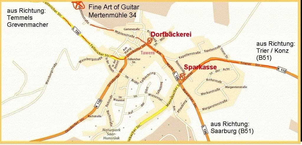 Location Anfahrt, Wegbeschreibung, Fine Art of Guitar