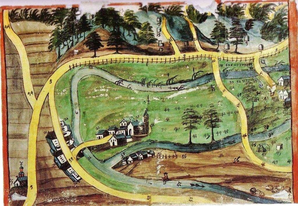 Location, Mertenmuehle, Fine Art of Guitar, Trier-Saarburg, Karte von Tawern anno 1731